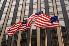 Drei amerikanische Flaggen Stockbild