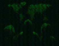 Drei anonym und Karten die Welt im binär Code vektor abbildung