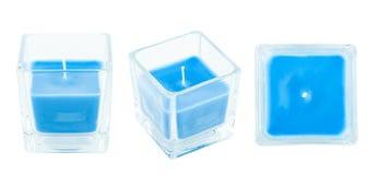 Drei Ansichten der blauen Kerze Lizenzfreies Stockfoto
