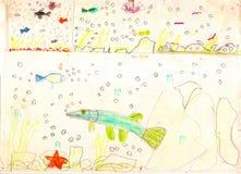 Drei Ansichten des Unterwasserlebens mit mehrfarbigen Fischen, Starfish, Steinen und Blasen Zeichnung eines Vaters und des Sohns vektor abbildung
