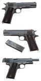 Drei Ansichten einer Militärpistole Lizenzfreies Stockfoto