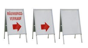 Drei Anzeigevorstände getrennt auf Weiß Lizenzfreie Stockfotos