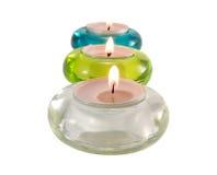 Drei aromatische Kerzen auf Weiß Stockfotos