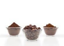 Drei Arten Kaffee Stockfoto