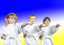Drei Athleten im karategi Schlag-Durchschlagsarm lizenzfreie stockfotos