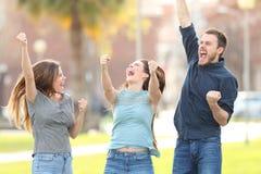 Drei aufgeregte Freunde, die Erfolg in einem Park feiernd springen stockbild
