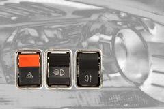 Drei Autoarmaturenbrettschalter Stockfotografie