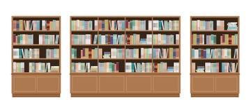 Drei Bücherschränke voll von den Büchern Getrennt auf wei?em Hintergrund Bildungsbibliotheks- und -buchhandlungskonzept lizenzfreie abbildung