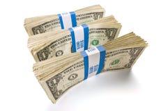 Drei Bündel Dollarscheine Stockfoto