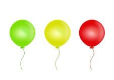 Drei Ballone getrennt auf weißem Hintergrund Stockfotos