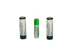 Drei Batterien getrennt auf Weiß Stockbild