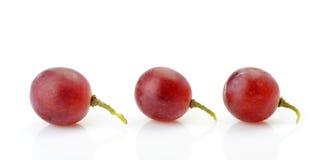 Drei Beeren der roten Trauben nebeneinander Stockbilder