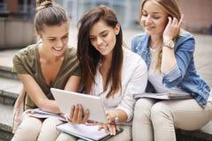 Drei beschäftigte Studenten auf dem Campus Stockfotografie
