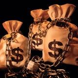 Drei Beutel mit Dollar Stockbilder