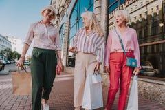 Drei bezaubernde ältere Damen gehen um die Stadt lizenzfreie stockbilder