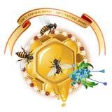 Drei Bienen, Bienenwabe und Farbband Stockbilder