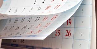 Drei Blätter Kalender mit schwarzen Zahlen Stockbilder