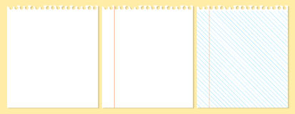 Drei Blätter Papier Stockfotos