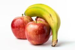 Drei Blöcke und eine zitronengelbe Banane Lizenzfreies Stockfoto
