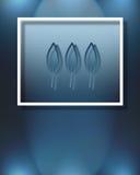 Drei blaue Blätter Stockfoto