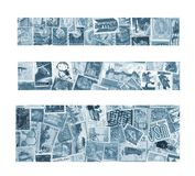 Drei blaue Fahnen Stockfotografie