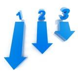Drei blaue Pfeile und Zahlen Stockfoto