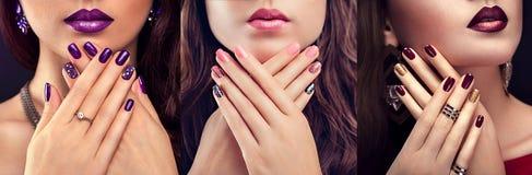 Drei Blicke der Schönheit mit perfektem Make-up und Maniküre Nageldesign Art und Weise stockfotografie