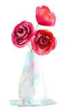 Drei Blumen der roten Rosen Lizenzfreies Stockfoto