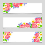 Drei Blumenfahnen Stockfotografie