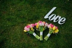 Drei Blumensträuße von Tulpen Lizenzfreie Stockbilder
