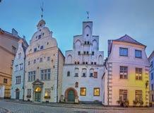 Drei Brüder, ein Block der mittelalterlichen Häuser in der alten Stadt, Riga Stockbilder