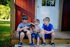 Drei Brüder mit Schoßhund stockfotografie