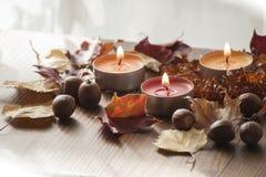 Drei brennende Kerzen, bunter Herbstlaub und Eicheln der roten Nordeiche und der bernsteinfarbigen Halskette Stockfoto
