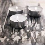 Drei brennende Kerzen, Malerei-BAC Stockfoto