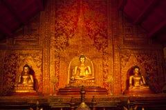 Drei Buddha und Kunstwandtempel Lizenzfreie Stockbilder