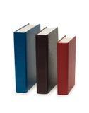 Drei bunte Bücher getrennt Lizenzfreies Stockfoto