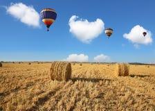 Drei bunte Ballone, die über das Feld fliegen Stockbild