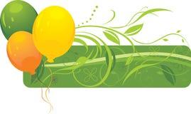 Drei bunte Ballone mit Blumenverzierung Stockbild