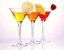 Drei bunte Cocktails Stockfoto