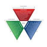 Drei bunter trapezoider Bereich für die Platzierung von Textinformationen Stockfoto
