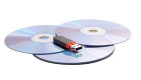 Drei Cd und USB-Blinkenlaufwerk Stockfotos
