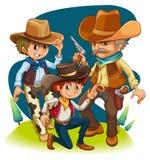 Drei Cowboys in den verschiedenen Positionen Stockfotos