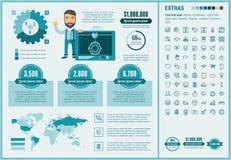 Drei D flache Design Infographic-Schablone druckend Lizenzfreies Stockfoto