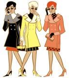 Drei Damen in den schwarzen Gläsern lizenzfreie abbildung