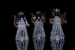 Drei dekorative Glasengel ein Stockfoto