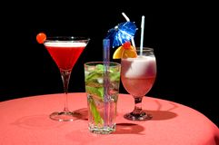 Drei dekoratives Coctails Stockfoto