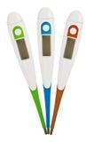 Drei digitale Thermometer lizenzfreie stockfotografie