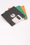 Drei Disketten auf weißem Hintergrund Kopieren Sie Raum unten für Text Stockfotos