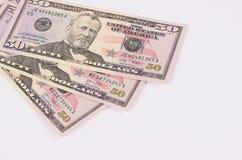 Drei 50-Dollar-Banknoten lokalisiert auf weißem Hintergrund Stockbilder