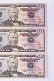 Drei 50-Dollar-Banknoten lokalisiert auf weißem Hintergrund Stockfotos